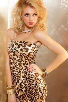 Hedvábné šaty leopardí vzor (vel. S/M)