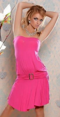 Růžové šaty s kapsičkami (vel. S/M)