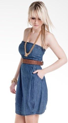 Džínové šaty + semišový pásek (vel. M)
