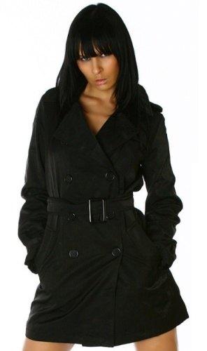 Dámský černý kabát – trenčkot (vel. XL) - Butik Radost 6fae88a865