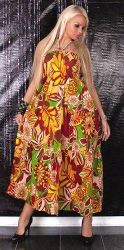 Dlouhé šaty pestrý vzor