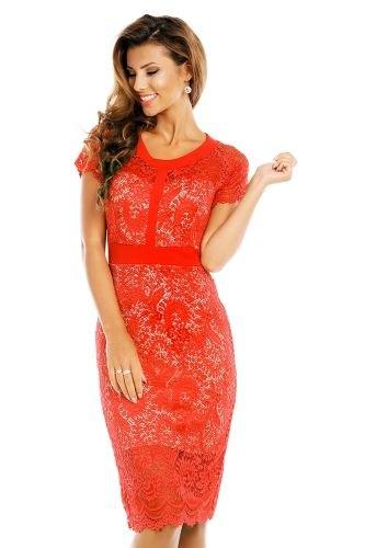 Červené krajkové šaty do společnosti a1fa5e0afa