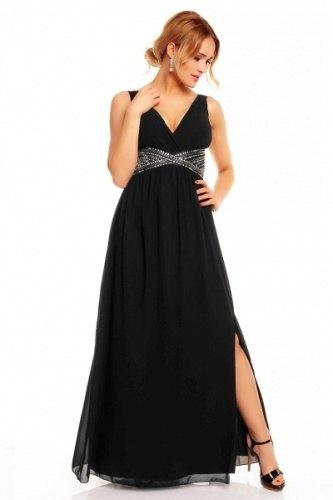 Dlouhé plesové šaty v černé barvě