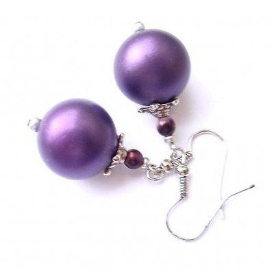 Náušnice fialové perly