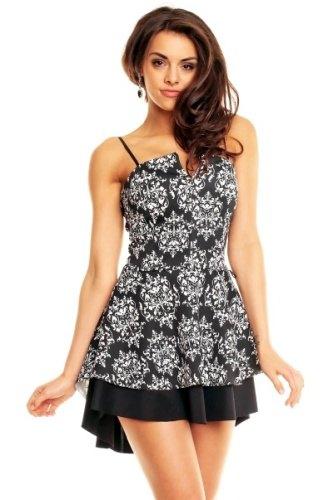 Korzetové šaty černé s potiskem