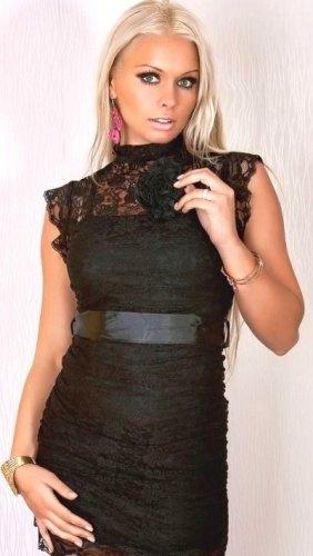 Krajkové černé šaty + brož - Butik Radost 39d50ee28f