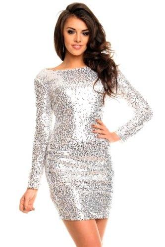 Stříbrné společenské šaty s dlouhým rukávem - Butik Radost 7a2346b68d