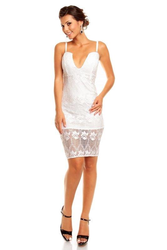 19f66723959c Bílé krajkové šaty krátké - Butik Radost