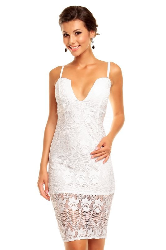 Bílé krajkové šaty krátké 93164f6fe7d