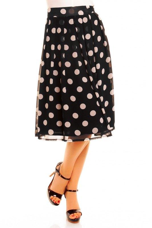 Černá kolová sukně s puntíky