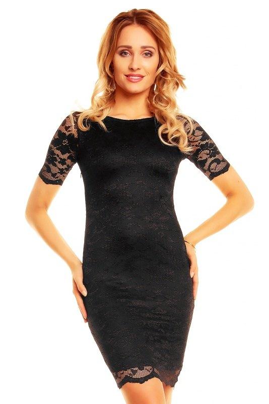 350b499ea651 Černé krajkové šaty s rukávem - Butik Radost