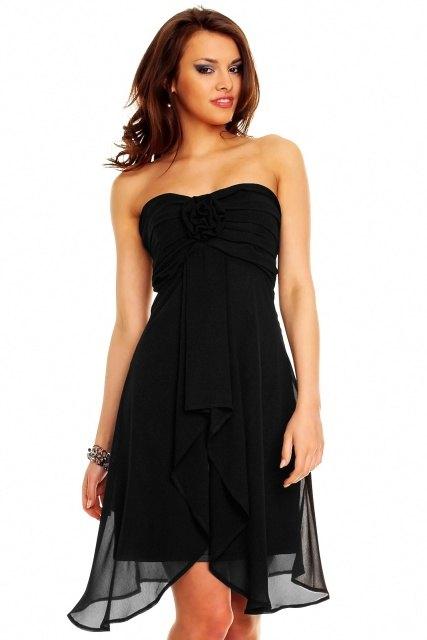 Rafinované černé společenské šaty - Butik Radost 85042d8a08