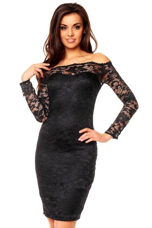 b7a3e6822ab2 Černé společenské šaty s rukávy - Butik Radost