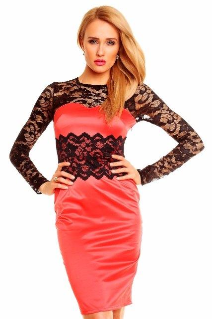 20a8ae1ff09 Červené saténové šaty s černou krajkou