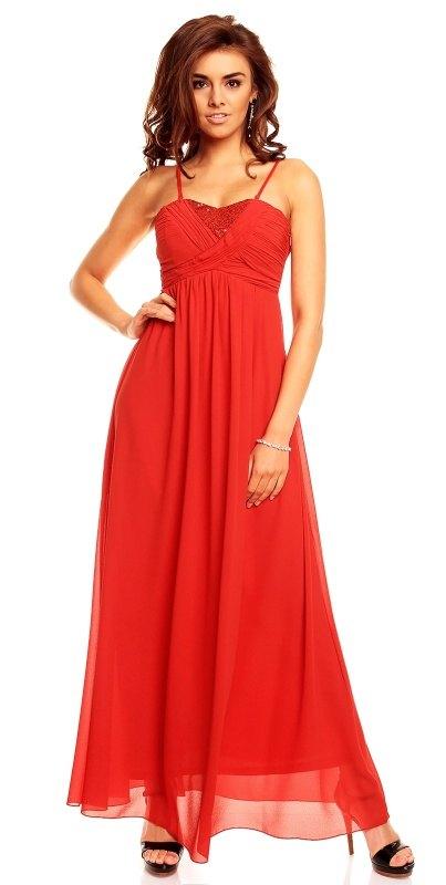 Luxusní červené dlouhé šaty Francie - Butik Radost 7c2b72b09a