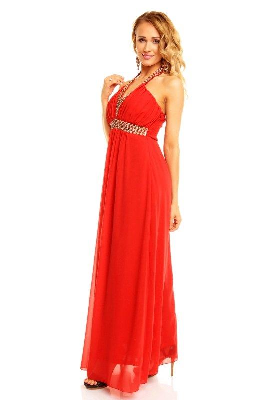 Dlouhé červené společenské šaty - Butik Radost 4b4ad114bf4