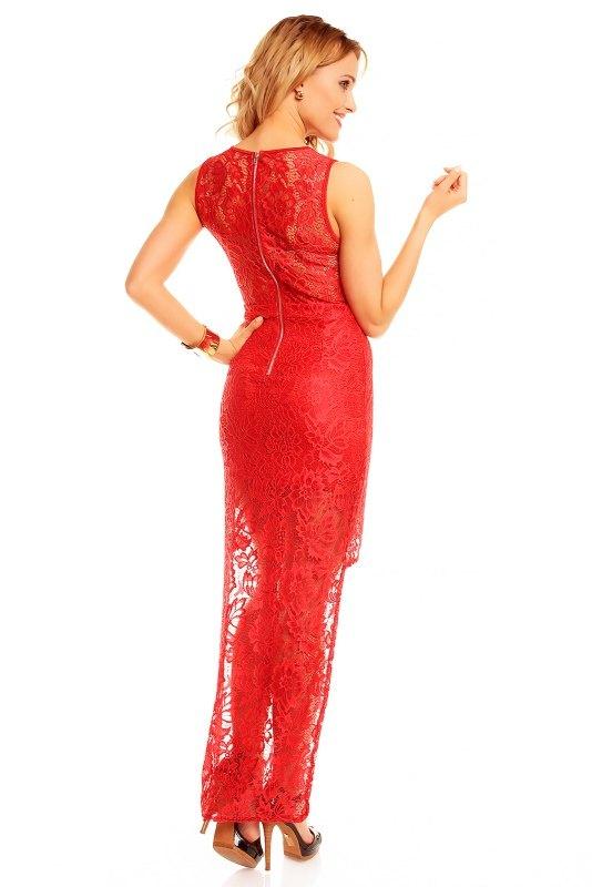 Dlouhé červené krajkové šaty do společnosti - Butik Radost 7a773f2310