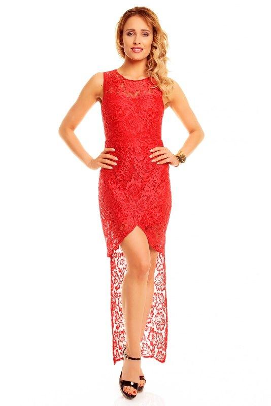 274dbd15131 Dlouhé červené krajkové šaty do společnosti - Butik Radost