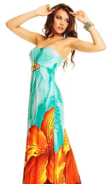 Exkluzivní dlouhé letní šaty (vel. S/M)