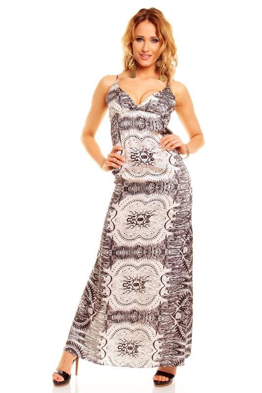 ee5cdd2cf3e Dlouhé elegantní černobílé šaty - Butik Radost