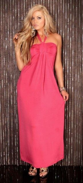 Dlouhé růžové šaty (vel. S/M)