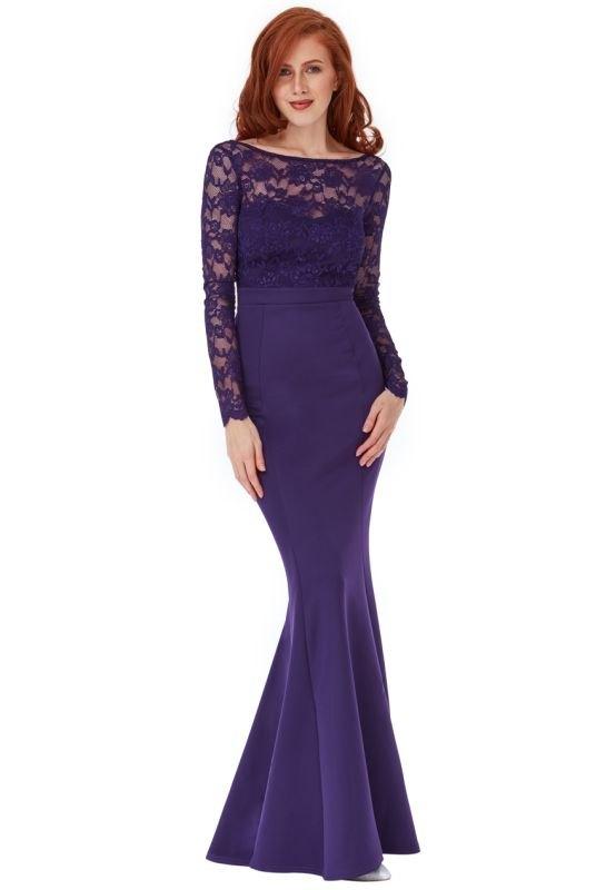 beffd6186 Krajkové dlouhé fialové plesové šaty - Butik Radost