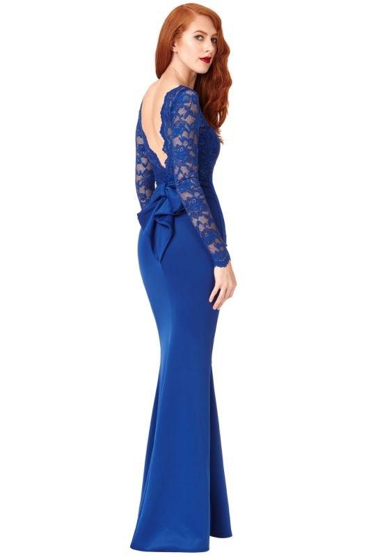 aa81a5deebc4 Krajkové dlouhé modré plesové šaty - Butik Radost