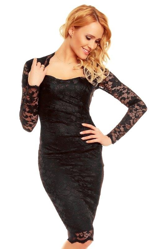 61b6a8a39d6c Černé plesové šaty s rukávy - Butik Radost