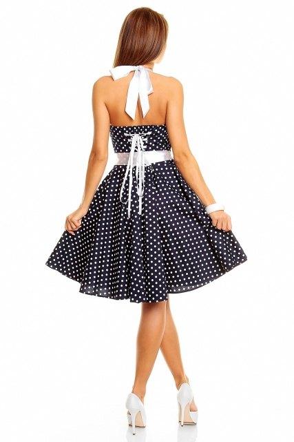 e447798d038 Letní tmavomodré retro šaty s puntíky - Butik Radost