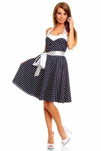 Letní tmavomodré retro šaty s puntíky - Butik Radost 336fb99ad0