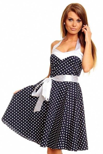 Letní tmavomodré retro šaty s puntíky - Butik Radost 23df69b861