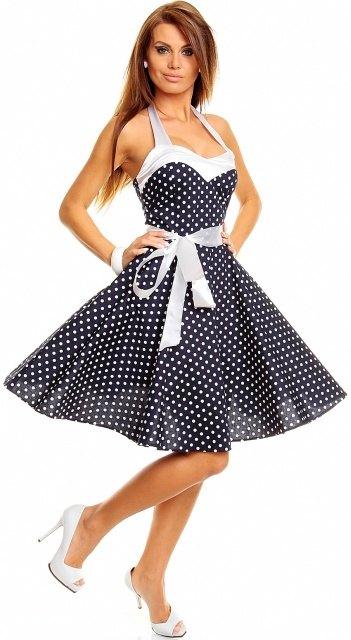 Letní tmavomodré retro šaty s puntíky