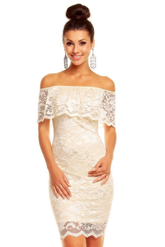 Luxusní krémové krajkové šaty - Butik Radost 6a587257c0