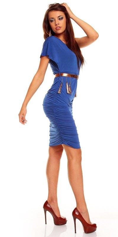 Přiléhavé modré šaty s páskem - Butik Radost c73e6266cb
