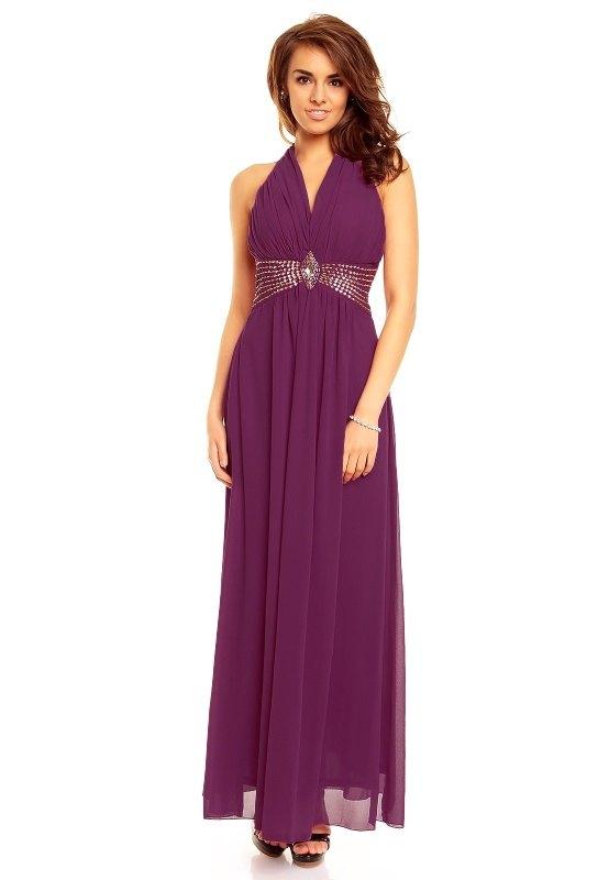 Dlouhé fialové plesové šaty Paříž - Butik Radost 497f65ee92