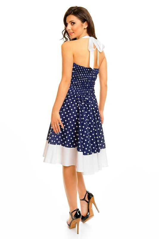Modré retro šaty s puntíky - Butik Radost 5f0b6a5b07