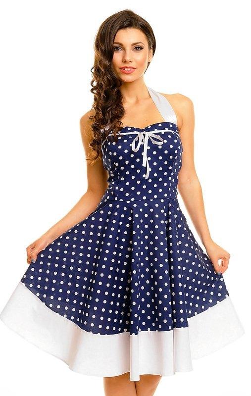 Modré retro šaty s puntíky - Butik Radost eb624652c3f