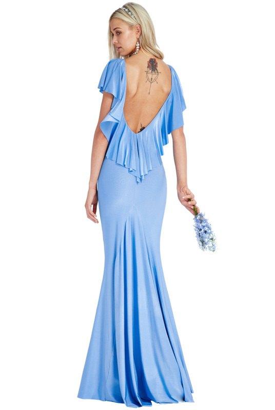 10ecb05290c Nebesky modré dlouhé šaty do společnosti - Butik Radost