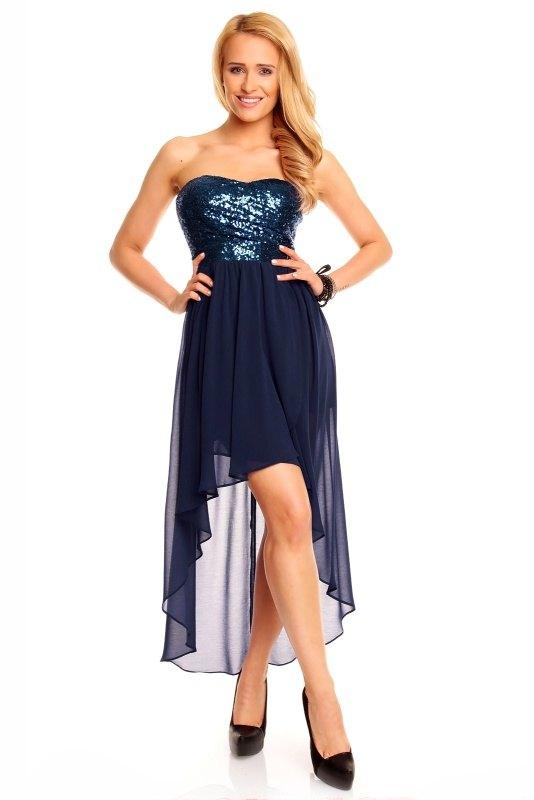 7e9be22b1dc7 Šifónové šaty s flitry ve tmavomodré barvě