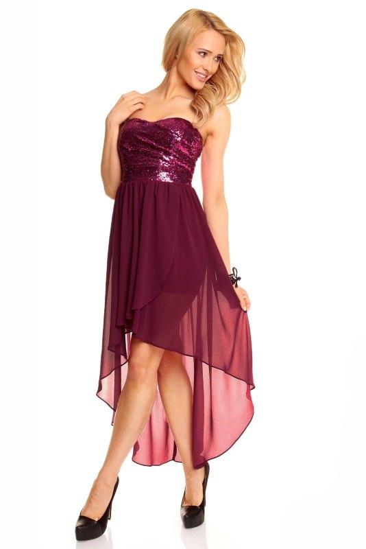 Šifónové šaty s flitry v purpurové barvě