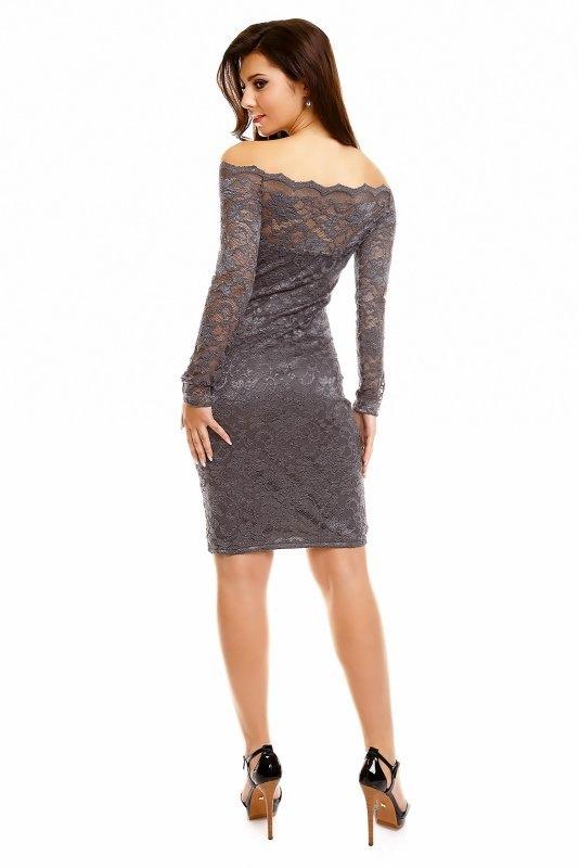 6de80a6c5ab Pouzdrové společenské šaty z šedé krajky - Butik Radost