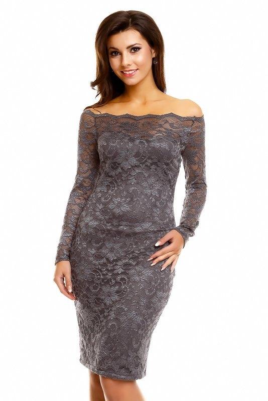 Pouzdrové společenské šaty z šedé krajky - Butik Radost 1343cfc7ec