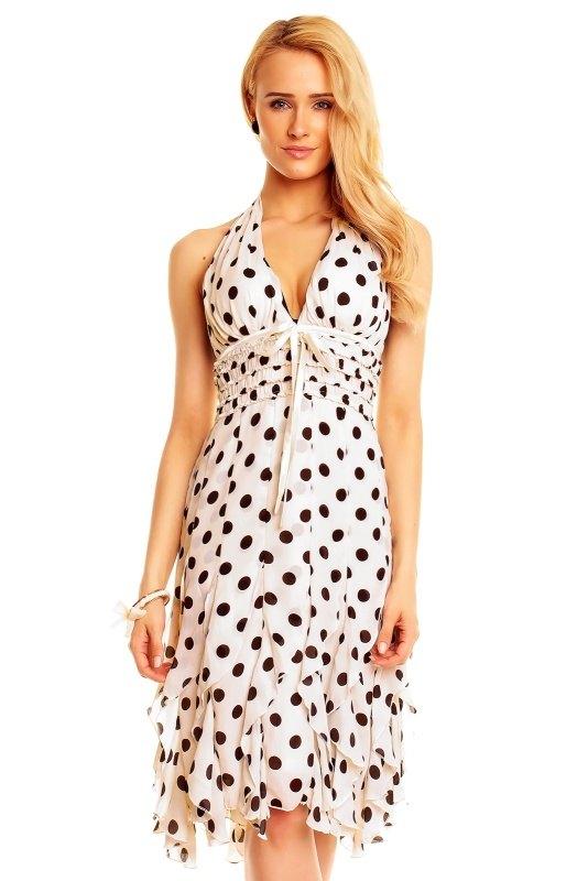 5a05437740a4 Společenské bílé šaty s puntíky