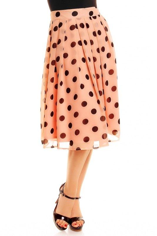 Šifónová retro puntíkatá sukně