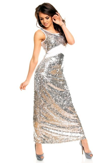 Stříbrné plesové šaty dlouhé - Butik Radost 63ba42ab8d