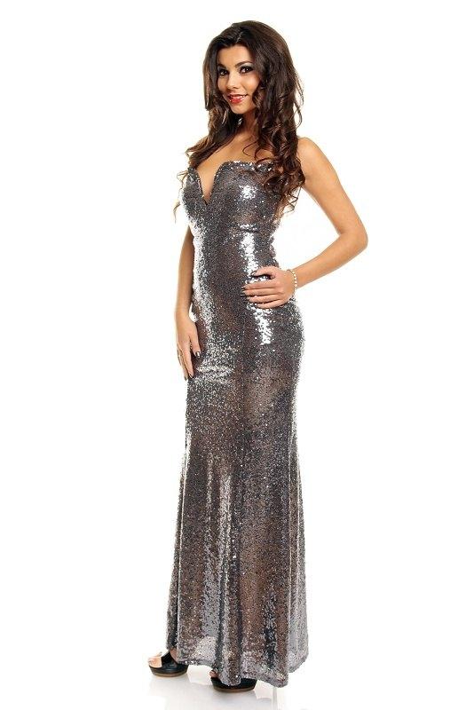 b68e41b6556 Dlouhé stříbrné plesové šaty - Butik Radost