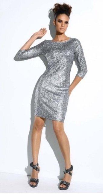 Stříbrné módní šaty (vel. M)