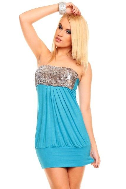 Tyrkysové mini šaty se stříbrnými flitry