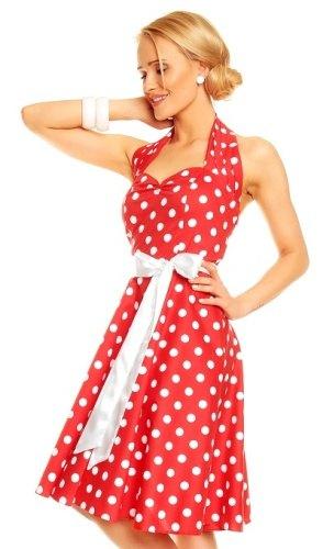 Červené puntíkaté retro šaty - Butik Radost 8019e015ee