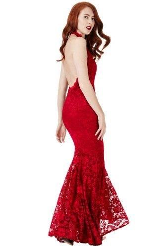 Luxusní dlouhé červené šaty z krajky